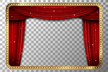 Retro golden frame with red curtain vector illustration