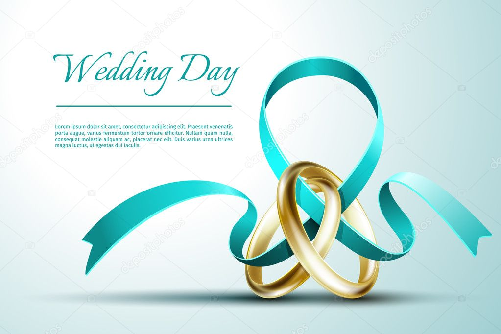 Wedding rings with ribbon invitation card vector template vetor de wedding rings with ribbon invitation card vector template vetor de stock stopboris Choice Image