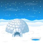 Photo Eskimo cold house from ice blocks in Antarctica vector illustration