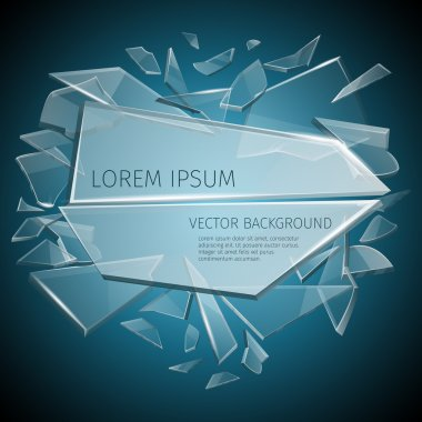 Broken glass label vector design