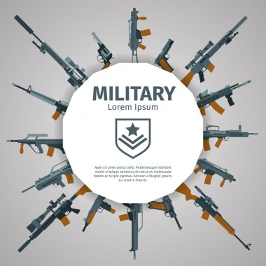 Weapons label. Vector guns badge with text