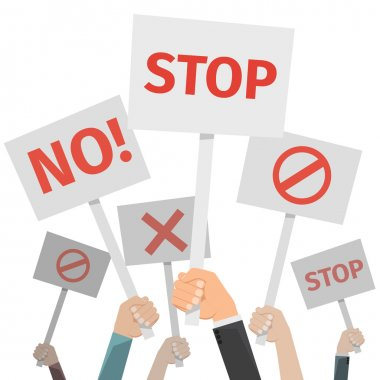 Protest concept. Hands holding different signs, No or stop, cross and forbid