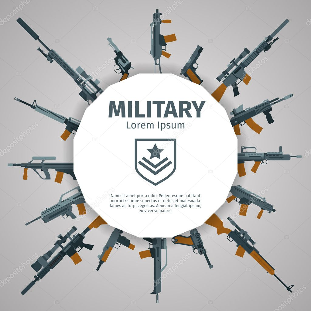 Weapons label. Vector guns badge with text. Automatic weapons uzi, illustration banner with group of weapons stock vector