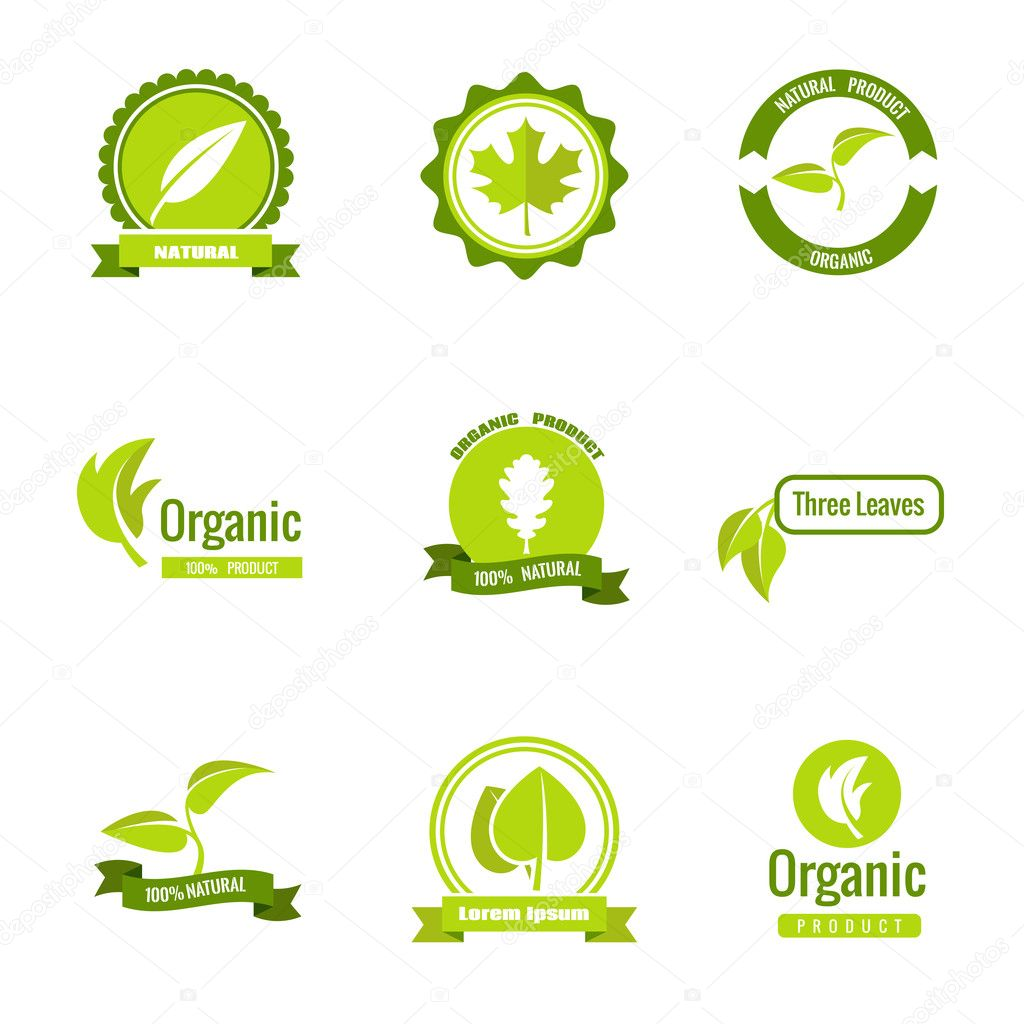 Natural, eco and organic products vector logos with leaves