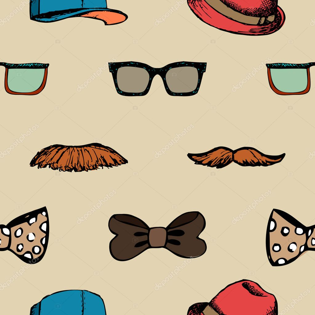 Bow tie, glasses and mustache seamless pattern