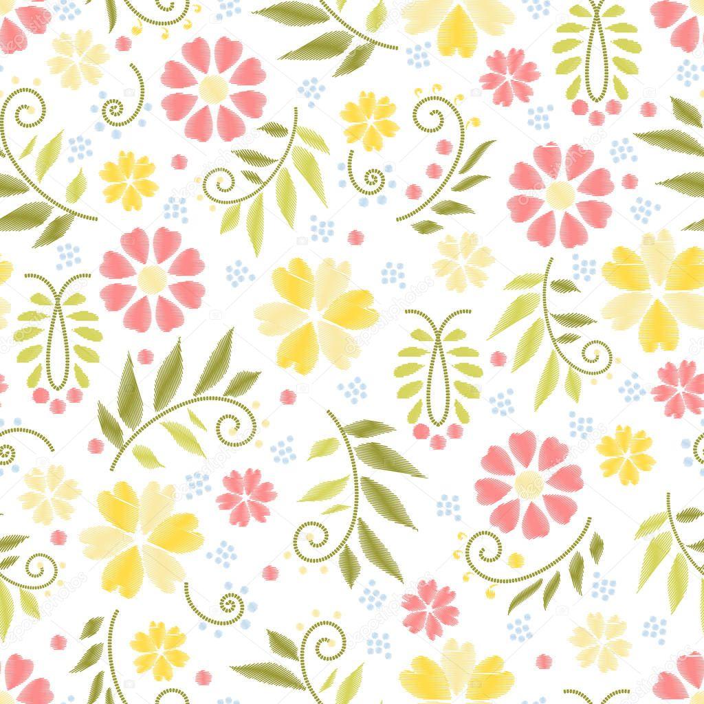 Patrones flores bordado | Vector de flores bordados patrones sin ...