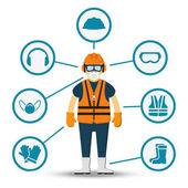Fotografie Worker health and safety vector illustration