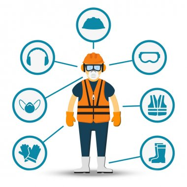 Worker health and safety vector. Illustration of accessories for protection stock vector