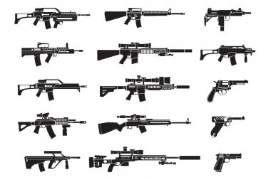 Machine gun and handgun, rifle pistol icons