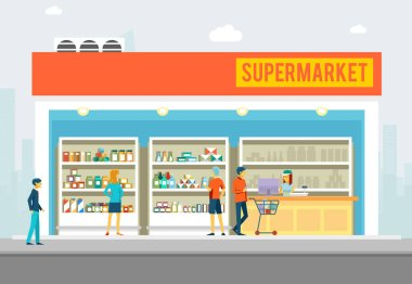 People in supermarket. Shop interior for marketing banners vector illustration