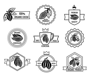 Cacao logo and chocolate labels set