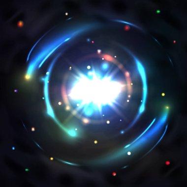 Blue glow light circle whirl vortex vector background