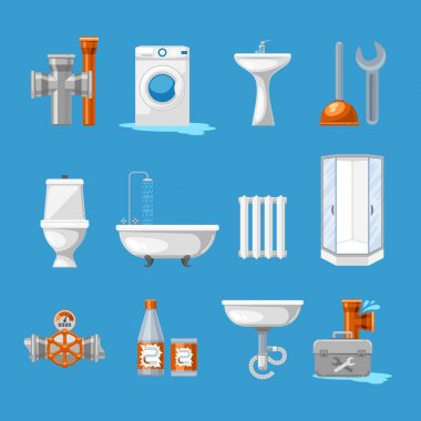 Plumbing sanitary engineering icons. Sink in toilet, piping and kitchen equipment vector illustration