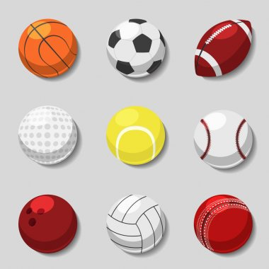 Sports balls. Vector cartoon ball set for soccer and tennis, rugby, basketball