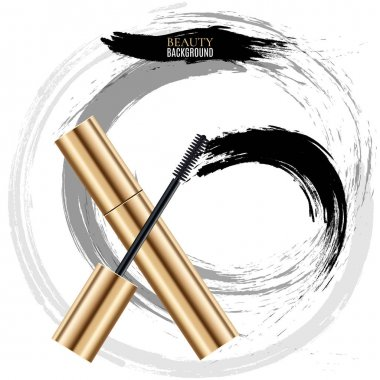 Woman cosmetic brush smears. Vector mascara strokes on white background