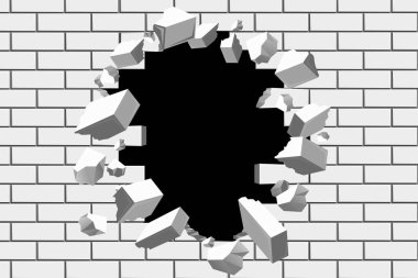 Brick wall break vector background. Destroyed barrier for business and achieve goals illustrations