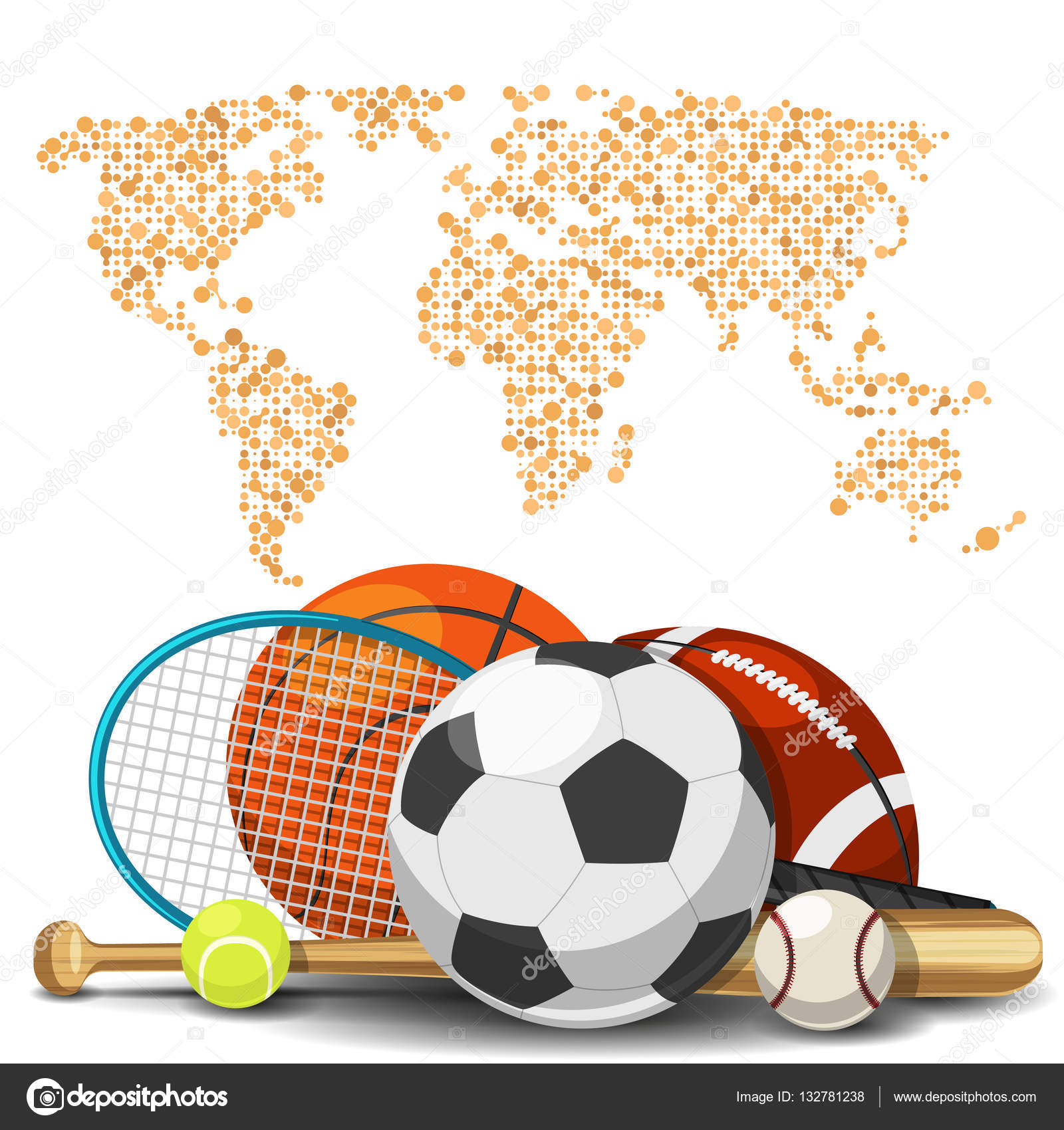 World Sport Deportes Concept. Sports Equipment With Map