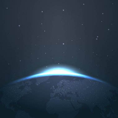 Sunrise horizon over earth from space with stars and lights vector illustration