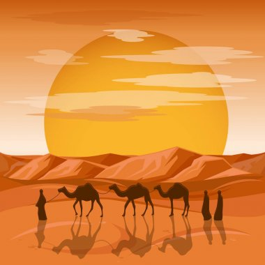 Caravan in desert vector background. Arab people and camels silhouettes in sands