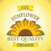 Fotografia Naturale organico migliore qualità olio di girasole etichetta o pubblicità manifesto dell