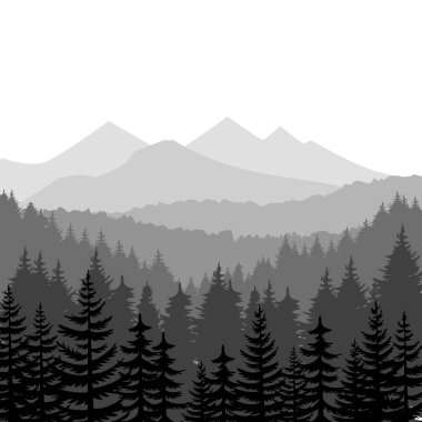 Pine forest and mountains vector backgrounds