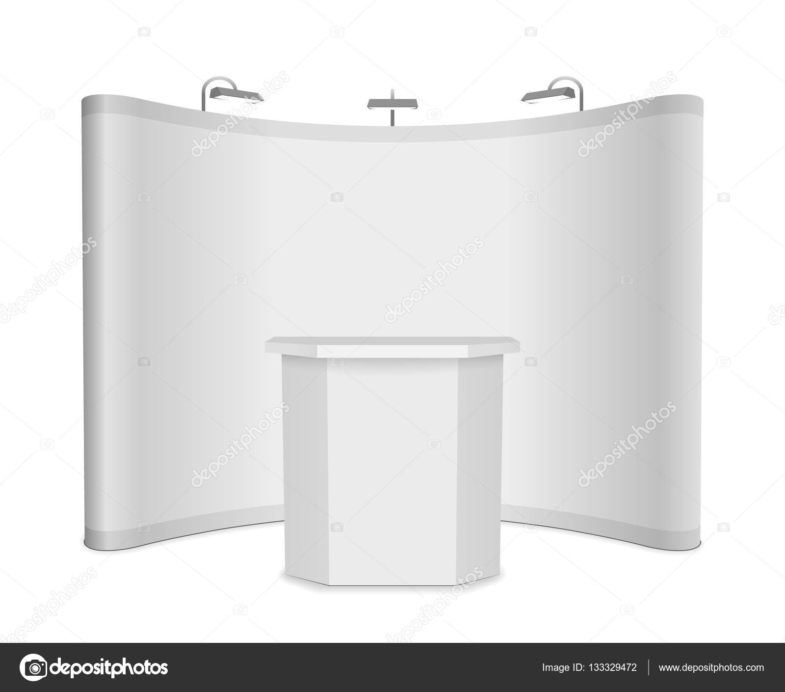 Simple Exhibition Stand Vector : Blank vector exhibition stand with banner and table on