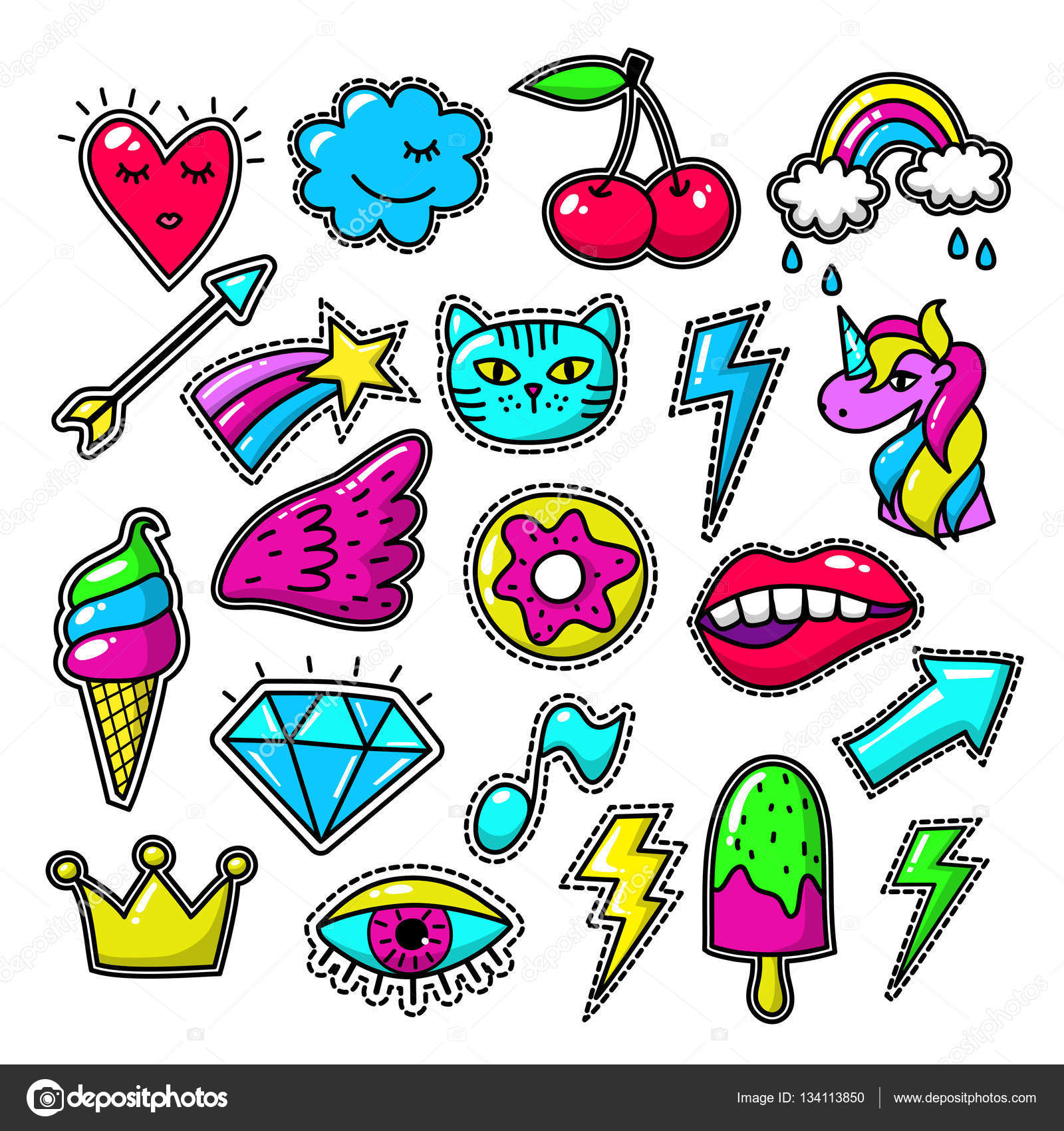 Girl doodle applique patches and embroidered textile stickers — Stock Vector