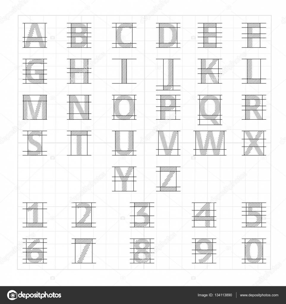 Drafting Paper Alphabet Vector Drawing Sketch Letters Lettering Instructional Illustration Of By MSSA