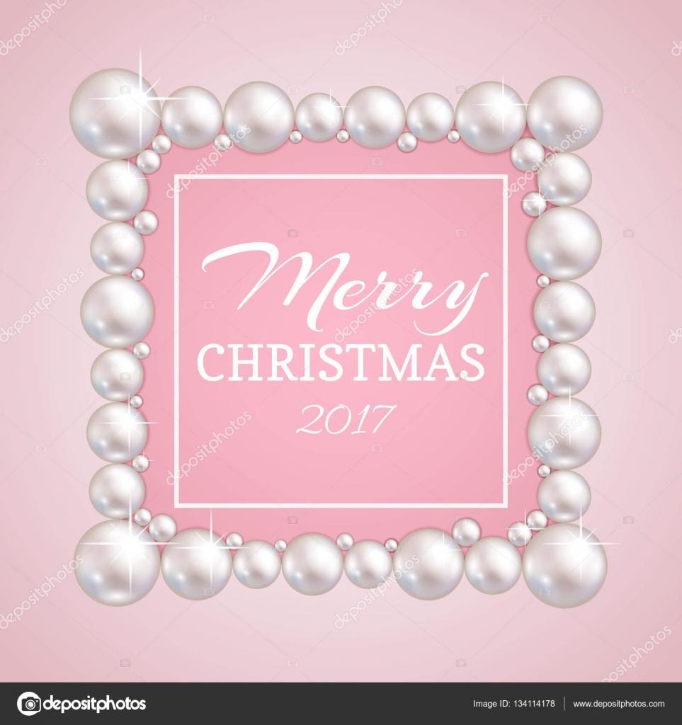 Marco de Navidad perla. Vector frontera de perlas de moda para boda ...