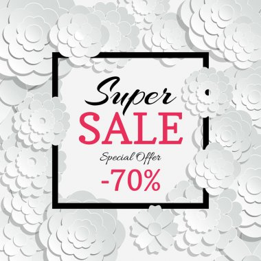Spring sale banner with vector 3d paper cut flowers and black frame