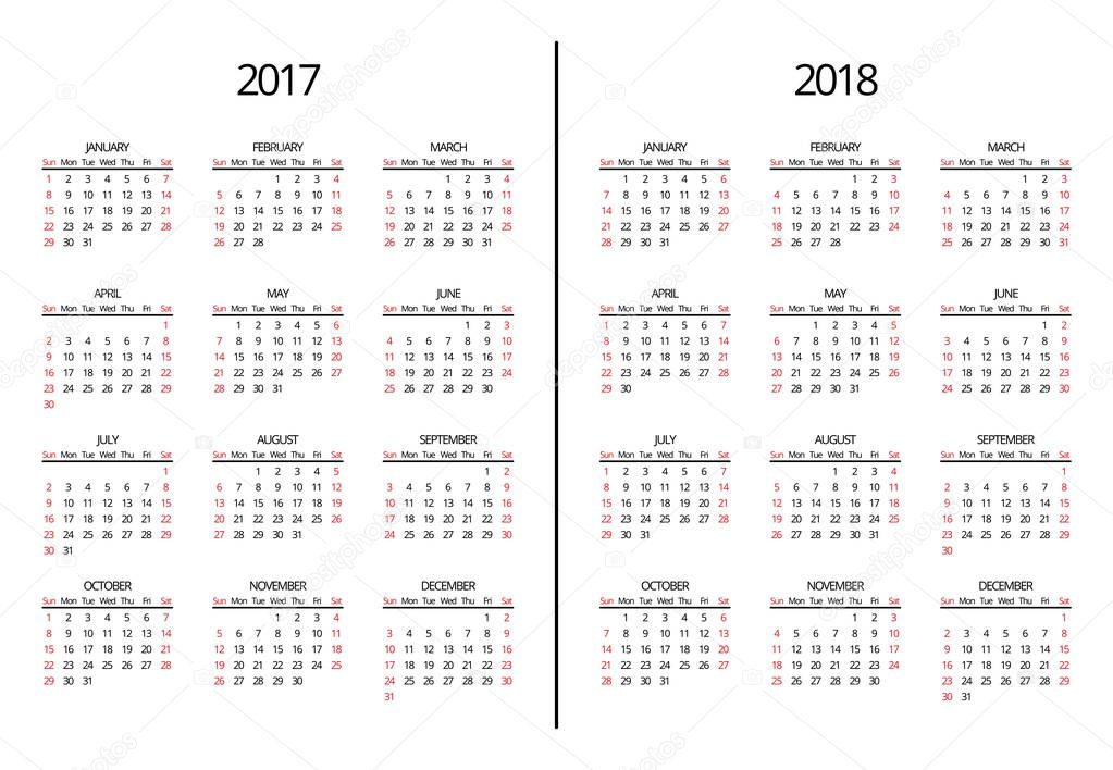 Vector 2017 year and 2018 calendar page. Simple monthly