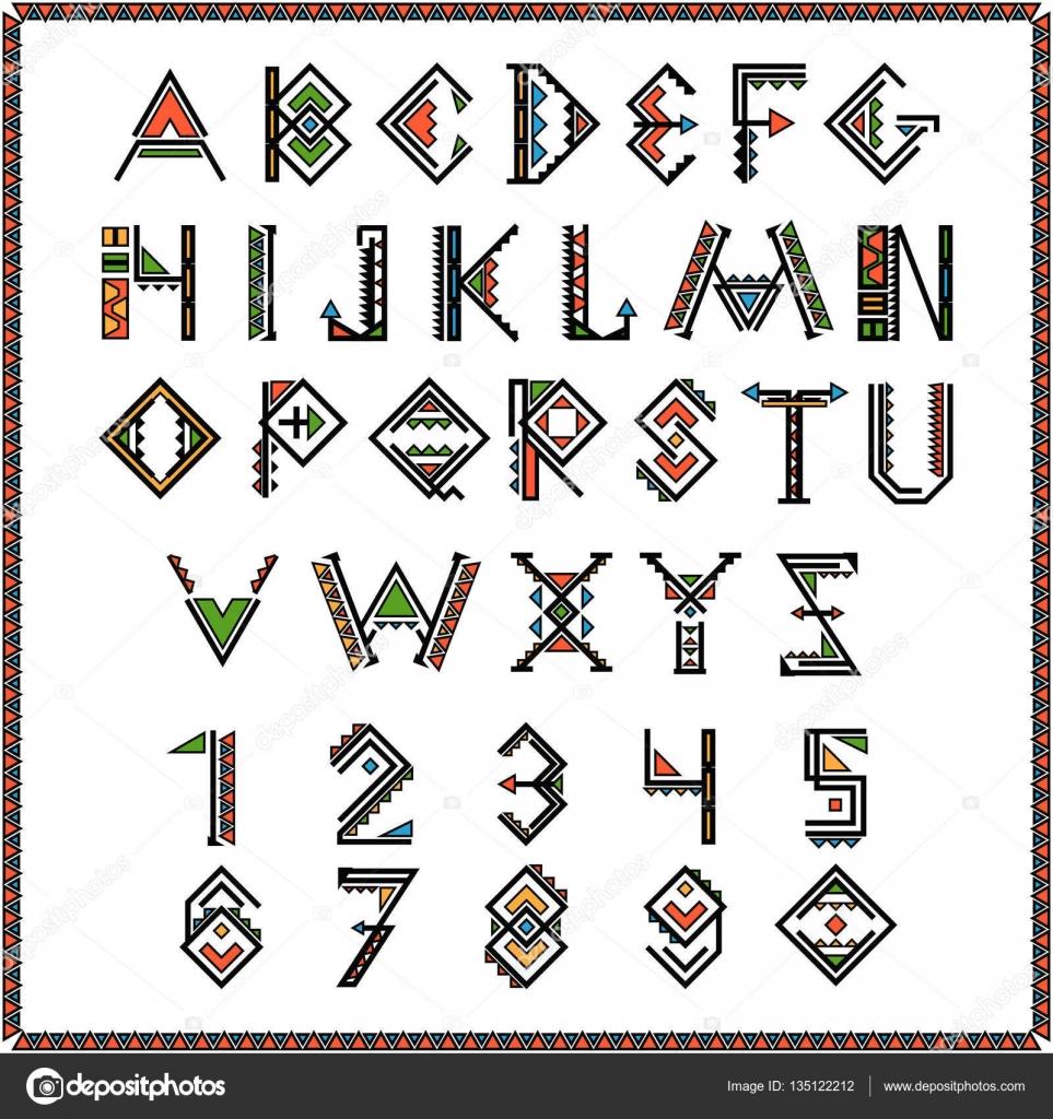 Fuente de indio nativo americano o mexicano alfabeto con números ...