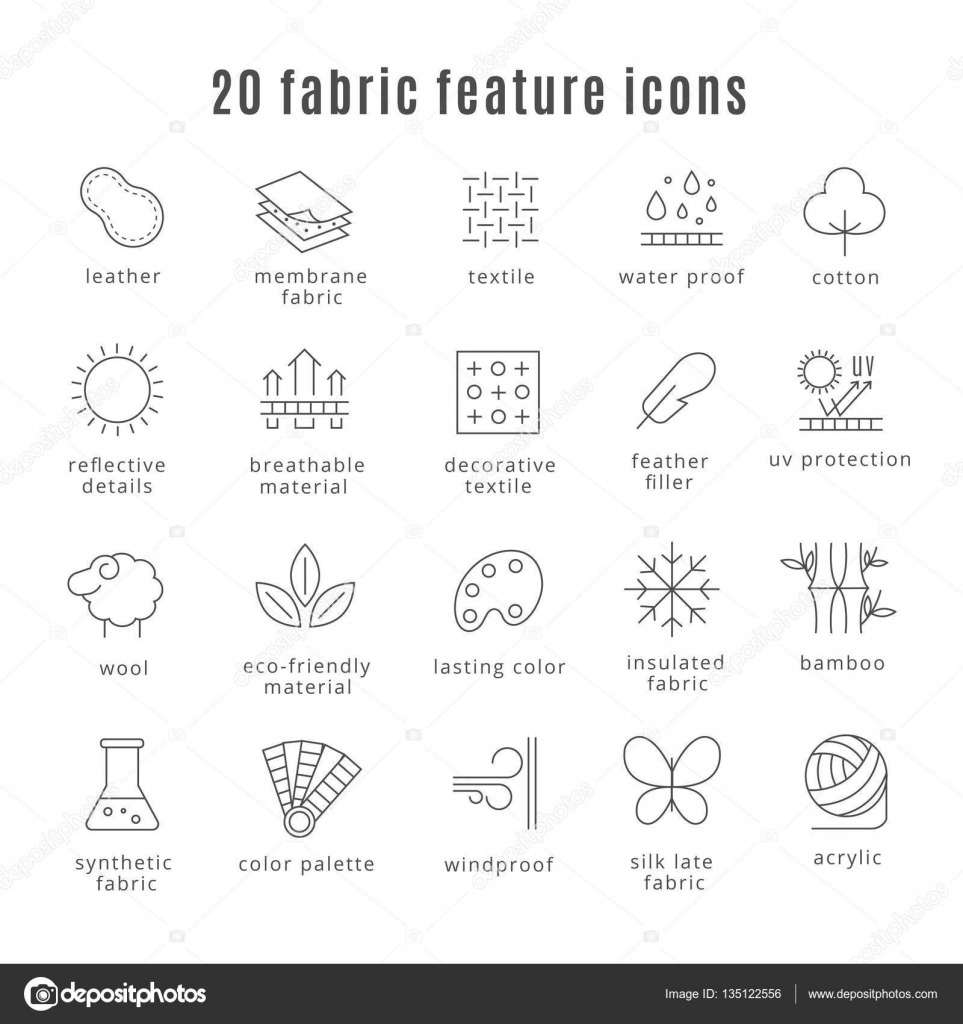 Fabric feature line icons comfort wear and lightweight synthetic comfort wear and lightweight synthetic clothes and wool waterproof clothing signs symbol for clothes set vector illustration vector by mssa biocorpaavc Image collections