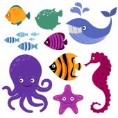 Photo Cute vector sea creatures. Cartoon smiling animals