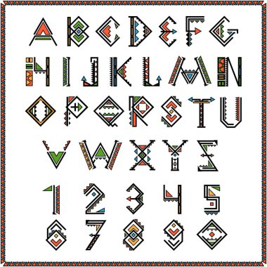Native american indian font or mexican alphabet with numbers