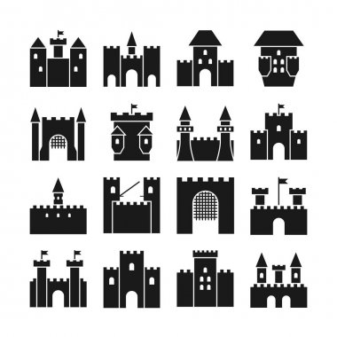 Castle vector icons. Medieval  walls and gothic tower black silhouettes