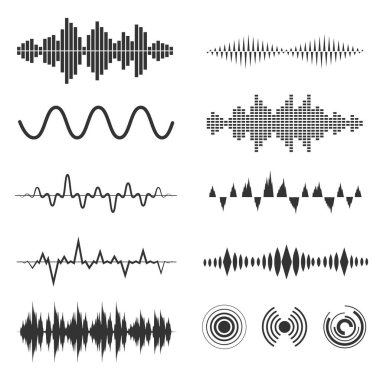 Signal wave set. Vector analog signals and digital sound waves forms. Amplitude audio wave illustration stock vector