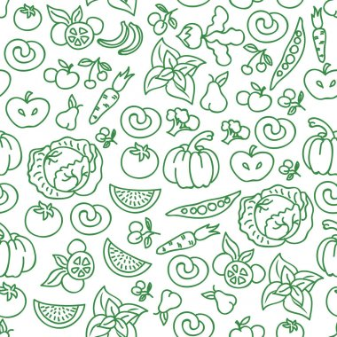 Vegetables diet food background. Vector raw vegetable foods for healthy  seamless pattern