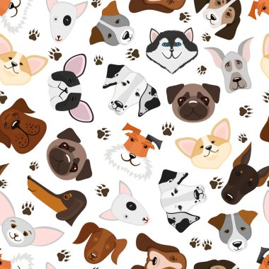 Cute puppy and dog mixed breed seamless pattern. Background with breed dog, vector illustration clip art vector
