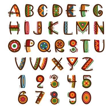 African ethnic primitive font. Hand drawn brightly safari vector alphabet