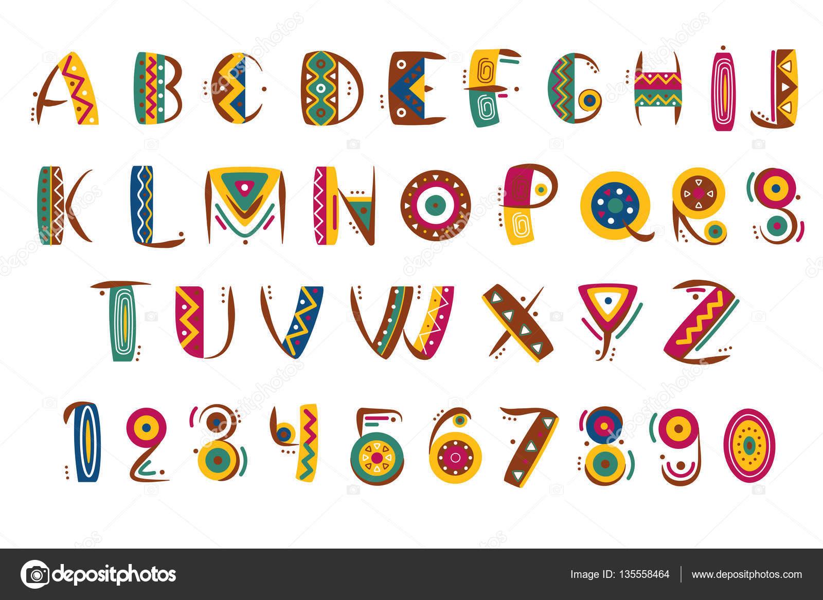 Primitieve Mexicaanse Lettertype Tribal Indische Of Afrikaanse