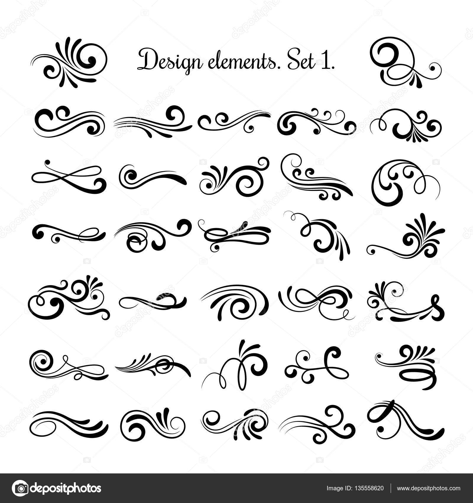 Swirly Line Curl Patterns Isolated On White Background Vector