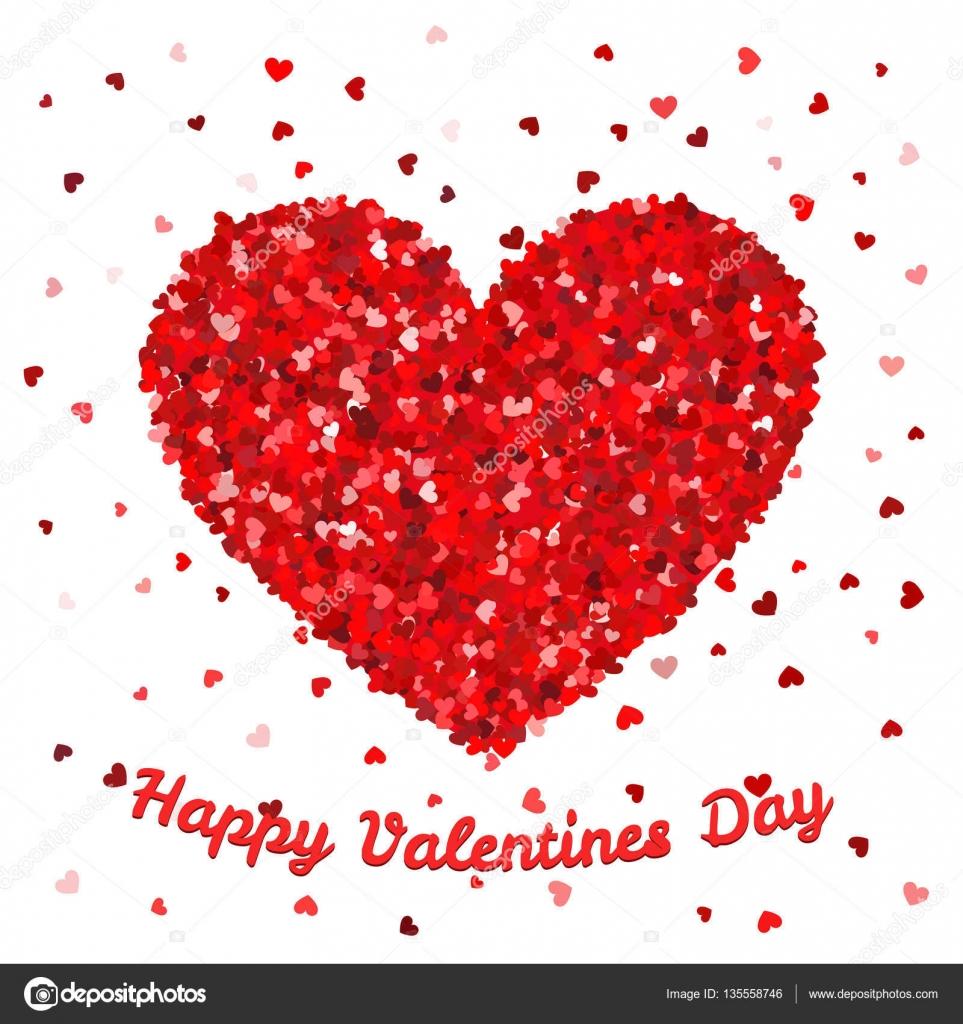 Happy Valentines Day Poster oder Karte Vorlage. Großes Herz aus ...