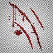 Krvavé škrábance. Vektor řezných ran s kapkami krve