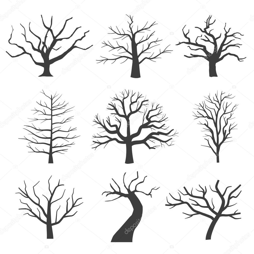 Dead tree silhouettes. Dying black scary trees forest vector illustration