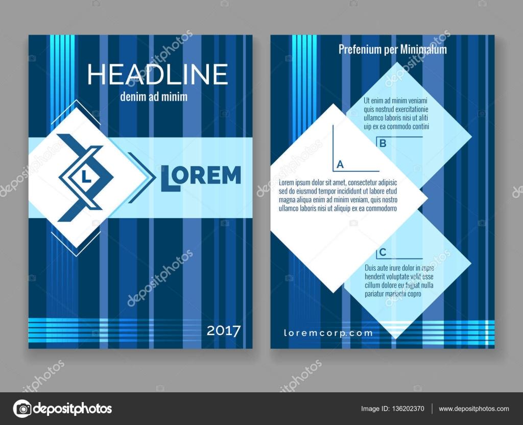Technology Digital Brochure Template Vector Abstract Blue Stripes - Digital brochure templates