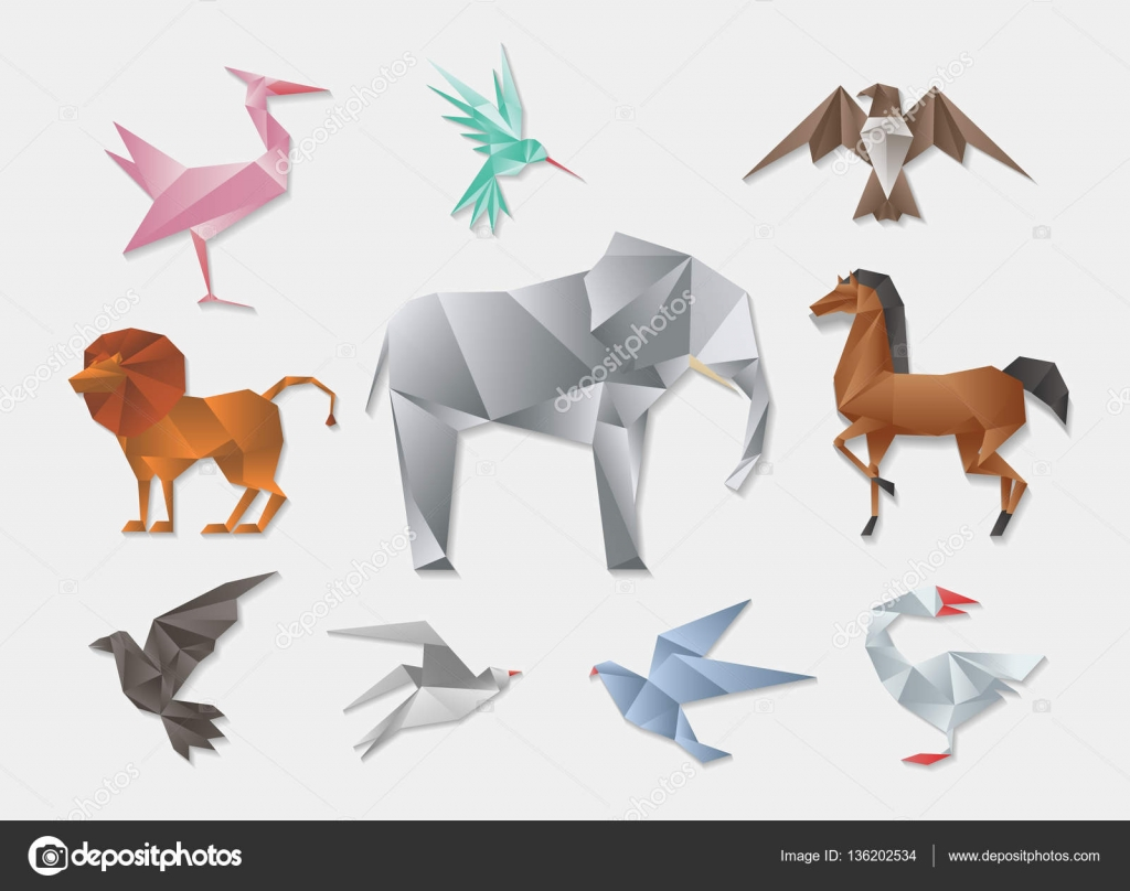 Origami Animals Vector 3d Paper Japanese Animal Set Elephant And Horse Lion Dove