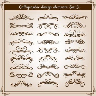 Swirled romantic calligraphic elements. Vector calligraphy swirls and curls for flourish design