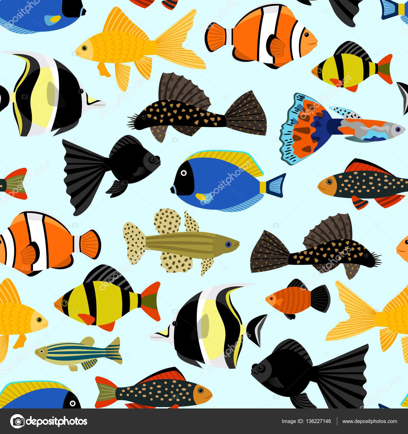 fishes seamless pattern cute cartoon aquarium fish animals