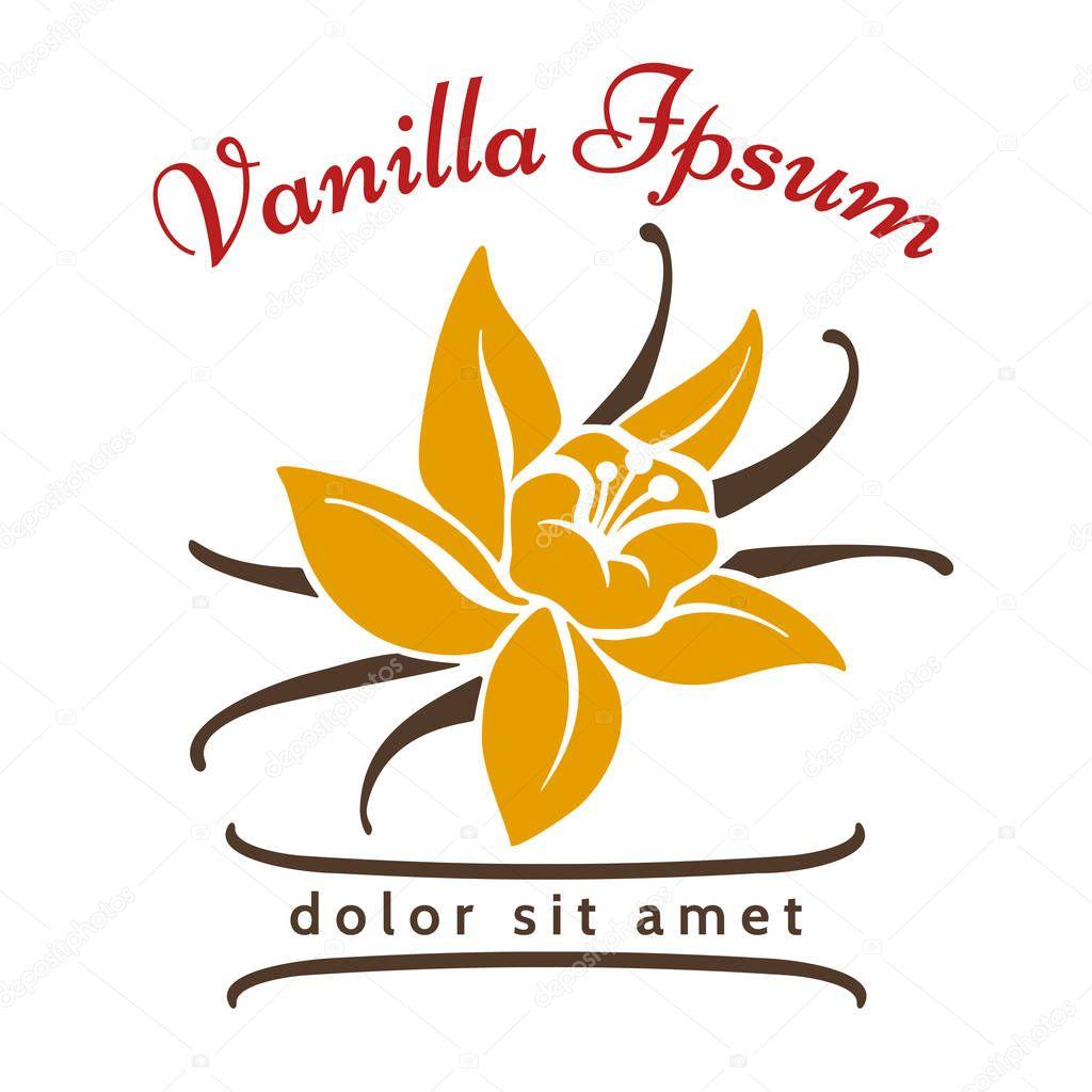 Vanilla dessert flavor logo. Vanillas aromatic flower and bean silhouette vector icon isolated on white background